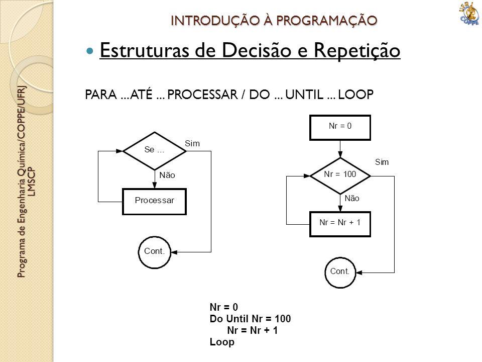 INTRODUÇÃO À PROGRAMAÇÃO Estruturas de Decisão e Repetição PARA... ATÉ... PROCESSAR / DO... UNTIL... LOOP
