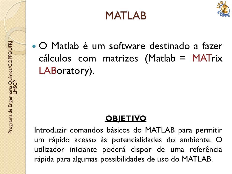 MATLAB O Matlab é um software destinado a fazer cálculos com matrizes (Matlab = MATrix LABoratory). OBJETIVO Introduzir comandos básicos do MATLAB par