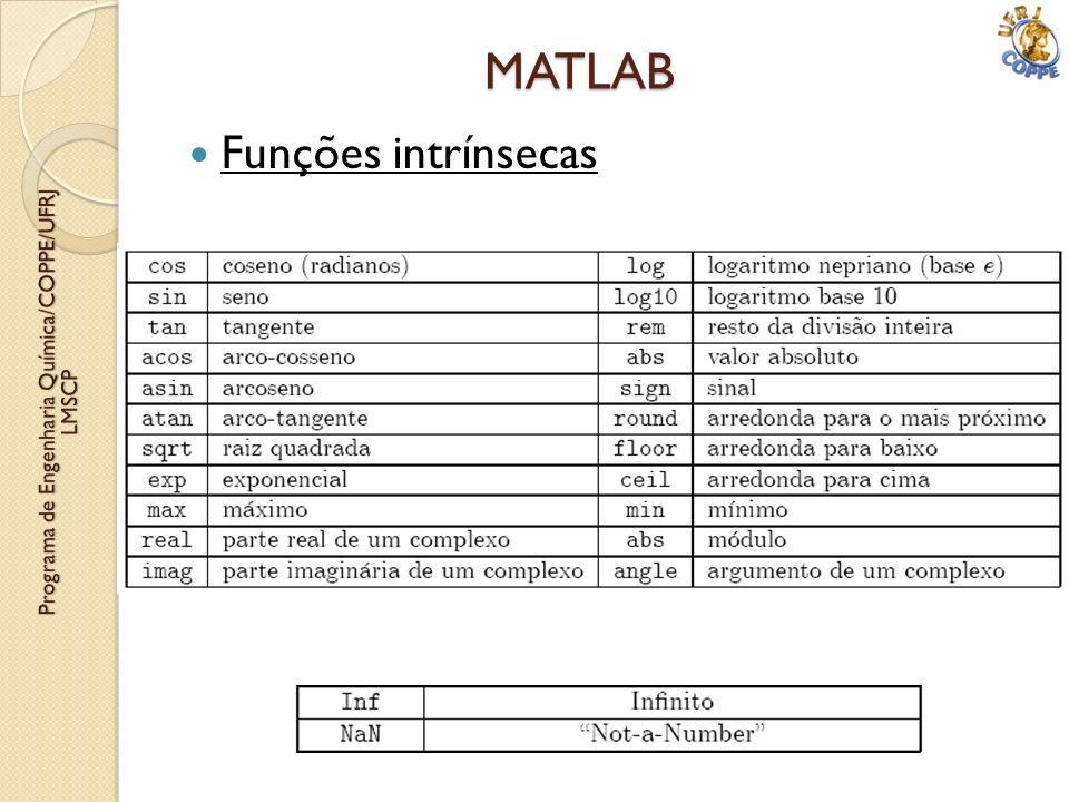 Funções intrínsecas MATLAB