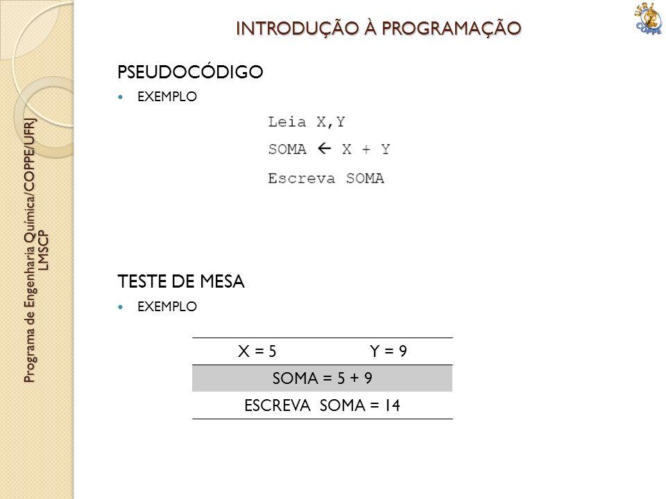 INTRODUÇÃO À PROGRAMAÇÃO PSEUDOCÓDIGO EXEMPLO TESTE DE MESA EXEMPLO X = 5 Y = 9 SOMA = 5 + 9 ESCREVA SOMA = 14