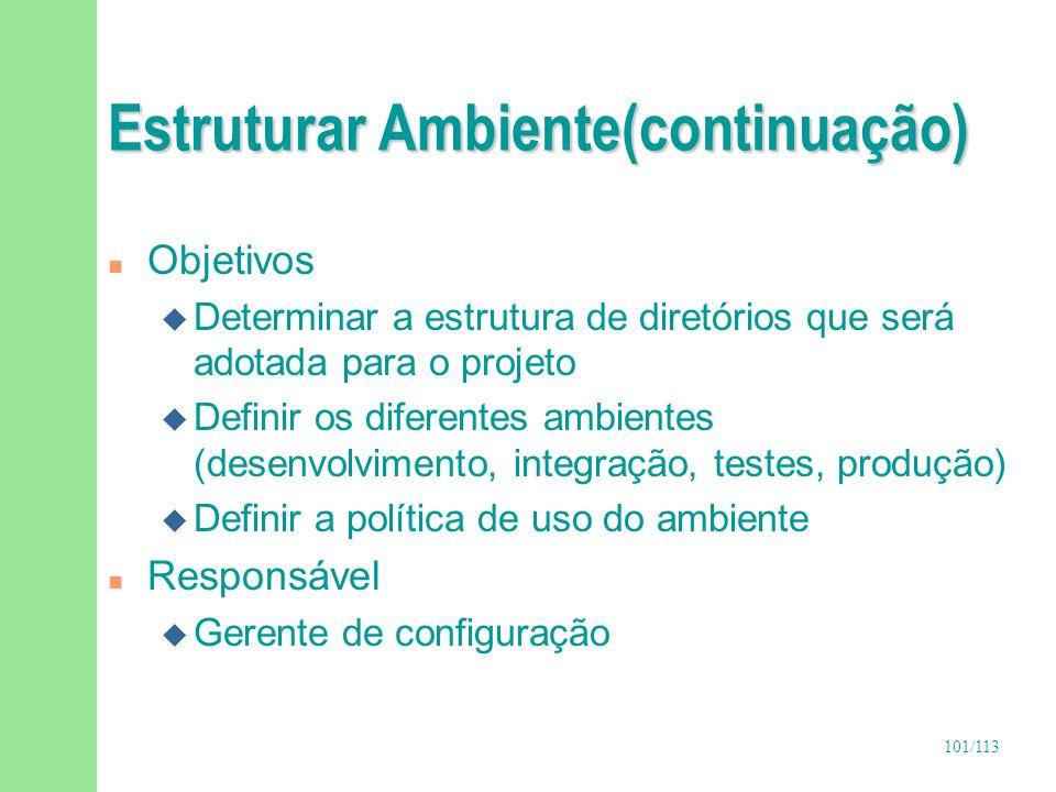 101/113 Estruturar Ambiente(continuação) n Objetivos u Determinar a estrutura de diretórios que será adotada para o projeto u Definir os diferentes am