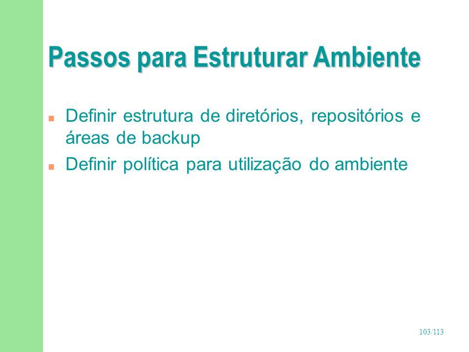 103/113 Passos para Estruturar Ambiente n Definir estrutura de diretórios, repositórios e áreas de backup n Definir política para utilização do ambien