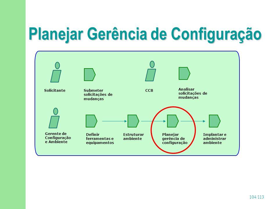 104/113 Planejar Gerência de Configuração Gerente de Configuração e Ambiente Definir ferramentas e equipamentos Implantar e administrar ambiente Estru