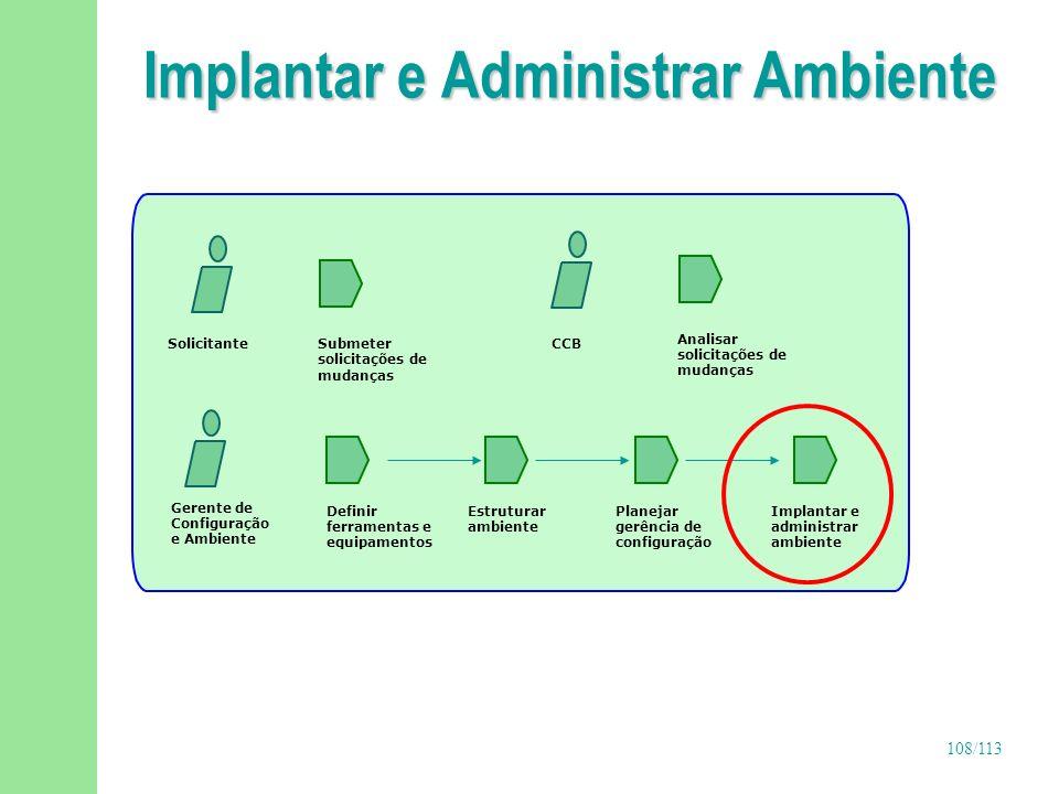 108/113 Implantar e Administrar Ambiente Gerente de Configuração e Ambiente Definir ferramentas e equipamentos Implantar e administrar ambiente Estrut