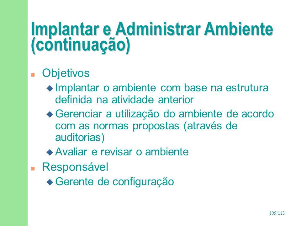 109/113 Implantar e Administrar Ambiente (continuação) n Objetivos u Implantar o ambiente com base na estrutura definida na atividade anterior u Geren