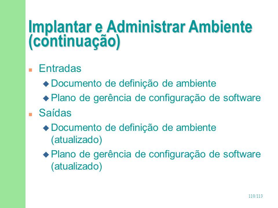110/113 Implantar e Administrar Ambiente (continuação) n Entradas u Documento de definição de ambiente u Plano de gerência de configuração de software
