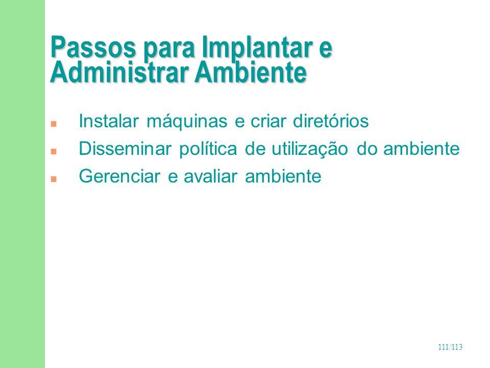 111/113 Passos para Implantar e Administrar Ambiente n Instalar máquinas e criar diretórios n Disseminar política de utilização do ambiente n Gerencia