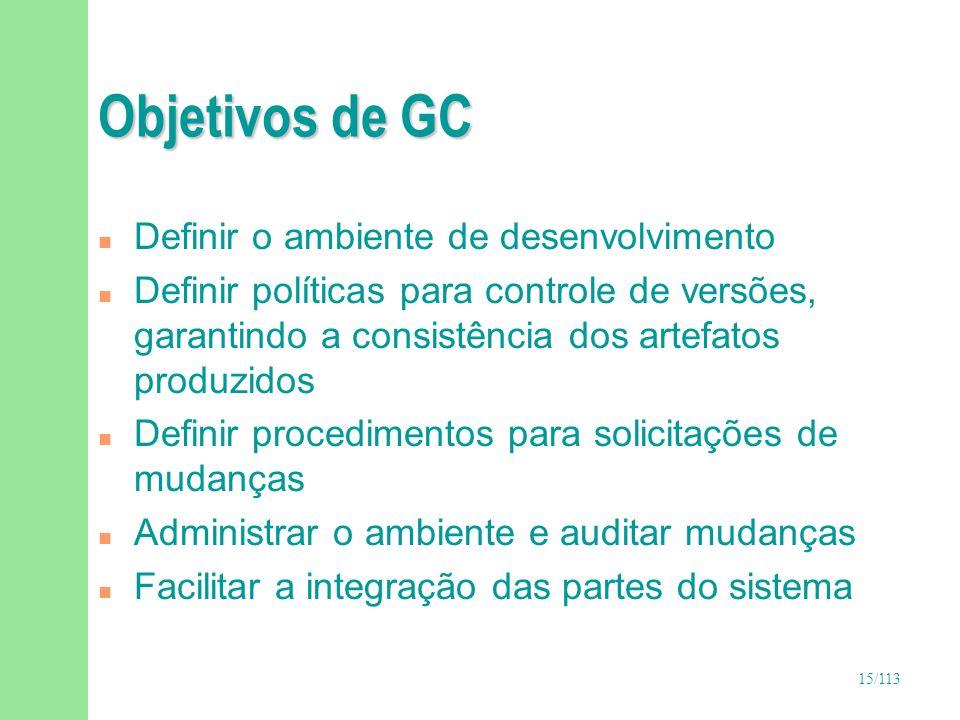 15/113 Objetivos de GC n Definir o ambiente de desenvolvimento n Definir políticas para controle de versões, garantindo a consistência dos artefatos p