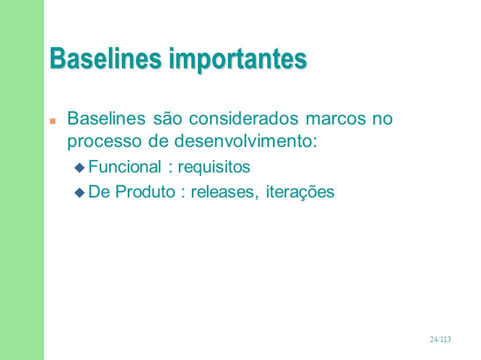 24/113 Baselines importantes n Baselines são considerados marcos no processo de desenvolvimento: u Funcional : requisitos u De Produto : releases, ite