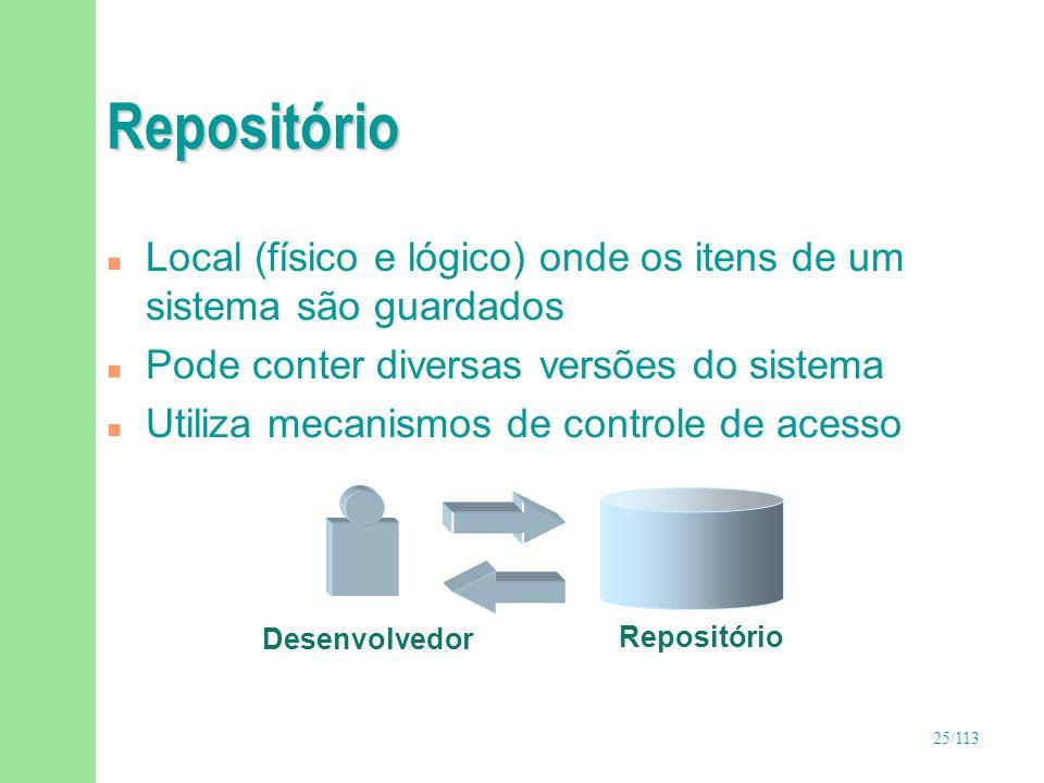 25/113 Repositório n Local (físico e lógico) onde os itens de um sistema são guardados n Pode conter diversas versões do sistema n Utiliza mecanismos