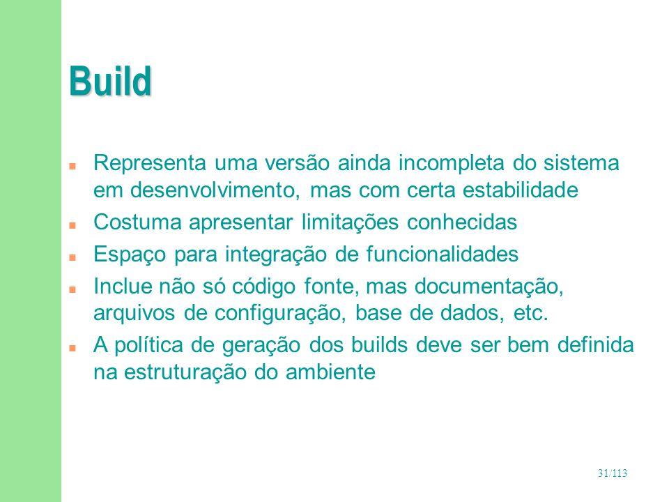 31/113 Build n Representa uma versão ainda incompleta do sistema em desenvolvimento, mas com certa estabilidade n Costuma apresentar limitações conhec
