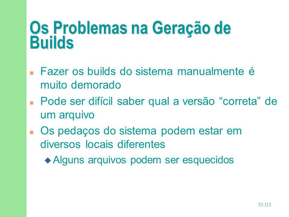 32/113 Os Problemas na Geração de Builds n Fazer os builds do sistema manualmente é muito demorado n Pode ser difícil saber qual a versão correta de u