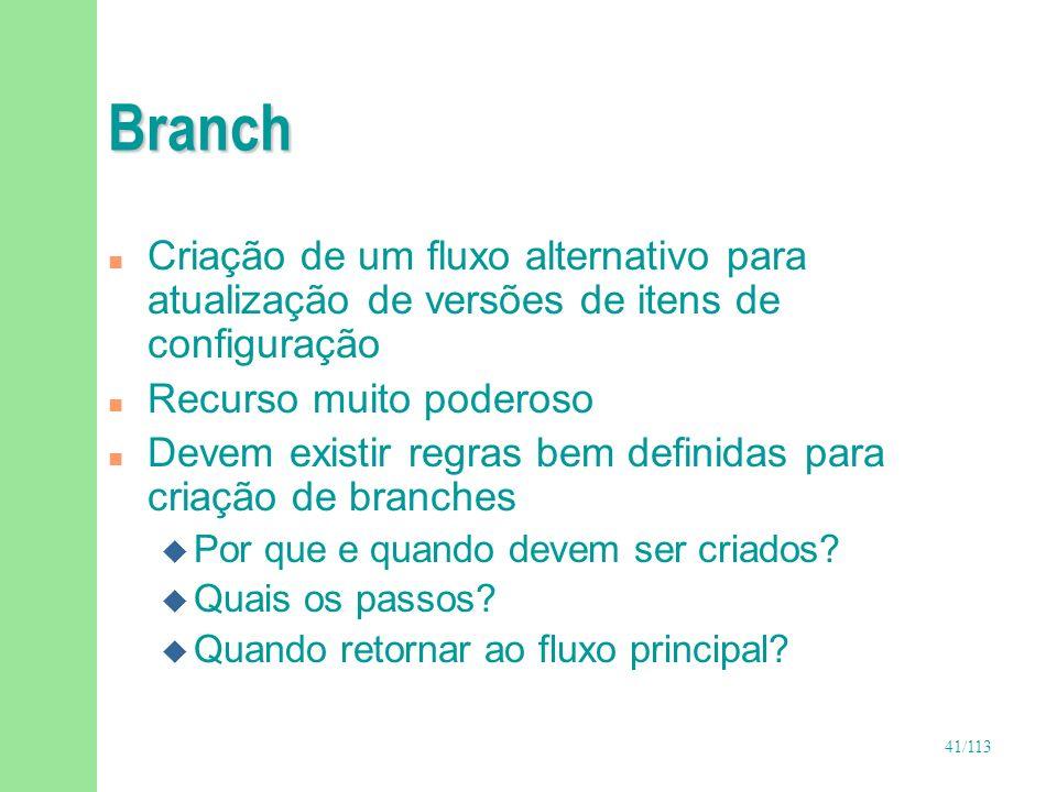 41/113 Branch n Criação de um fluxo alternativo para atualização de versões de itens de configuração n Recurso muito poderoso n Devem existir regras b