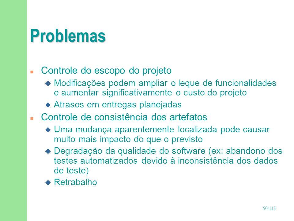 50/113 Problemas n Controle do escopo do projeto u Modificações podem ampliar o leque de funcionalidades e aumentar significativamente o custo do proj