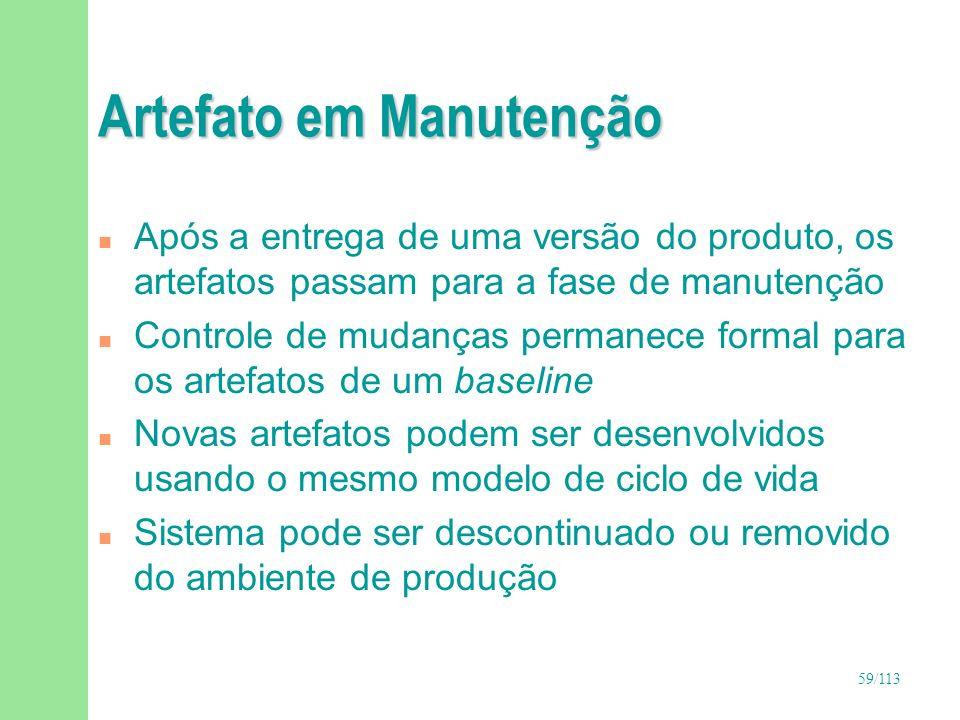 59/113 Artefato em Manutenção n Após a entrega de uma versão do produto, os artefatos passam para a fase de manutenção n Controle de mudanças permanec