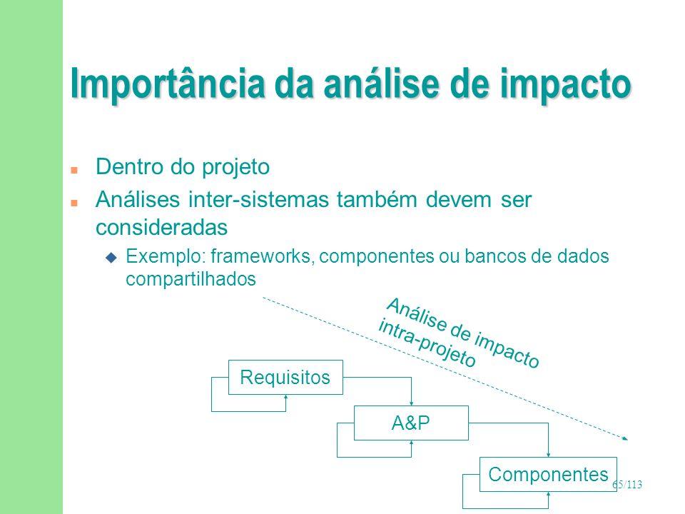 65/113 Importância da análise de impacto n Dentro do projeto n Análises inter-sistemas também devem ser consideradas u Exemplo: frameworks, componente