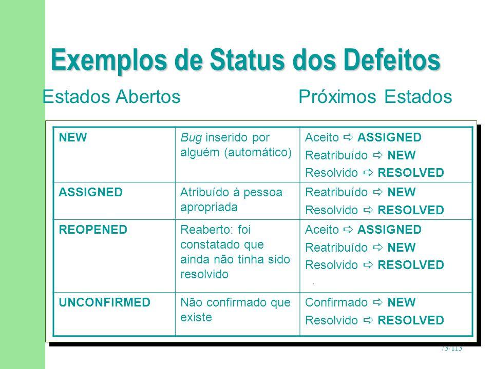 73/113 Exemplos de Status dos Defeitos Estados Abertos Próximos Estados NEWBug inserido por alguém (automático) Aceito ASSIGNED Reatribuído NEW Resolv