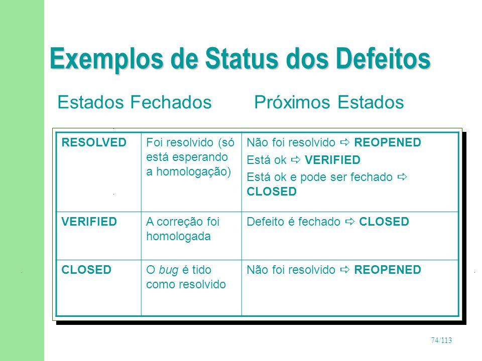 74/113 Exemplos de Status dos Defeitos Estados Fechados Próximos Estados RESOLVEDFoi resolvido (só está esperando a homologação) Não foi resolvido REO