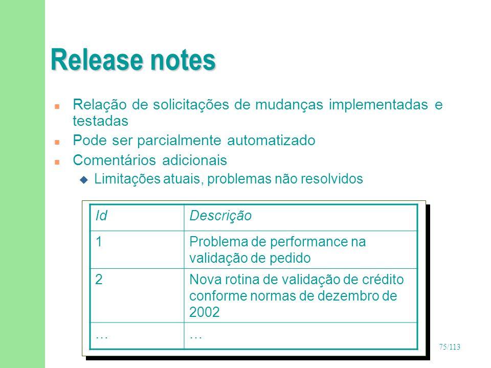 75/113 Release notes IdDescrição 1Problema de performance na validação de pedido 2Nova rotina de validação de crédito conforme normas de dezembro de 2