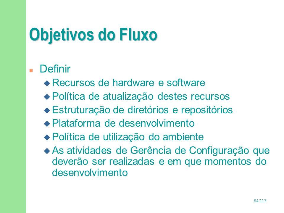 84/113 Objetivos do Fluxo n Definir u Recursos de hardware e software u Política de atualização destes recursos u Estruturação de diretórios e reposit