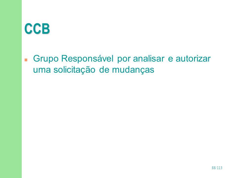 88/113 CCB n Grupo Responsável por analisar e autorizar uma solicitação de mudanças
