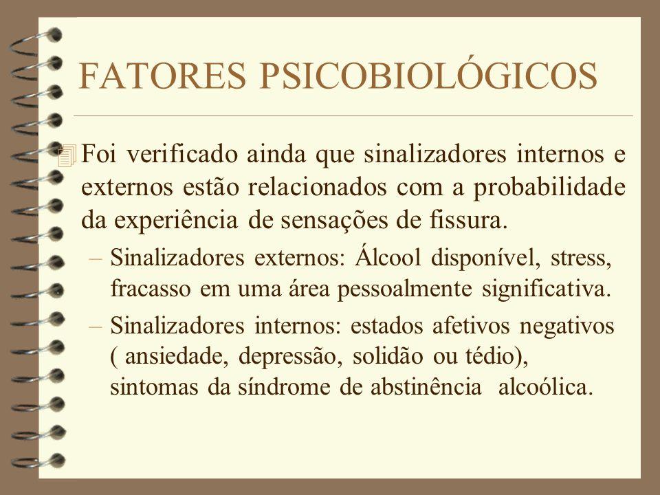 FATORES PSICOBIOLÓGICOS 4 Foi verificado ainda que sinalizadores internos e externos estão relacionados com a probabilidade da experiência de sensaçõe