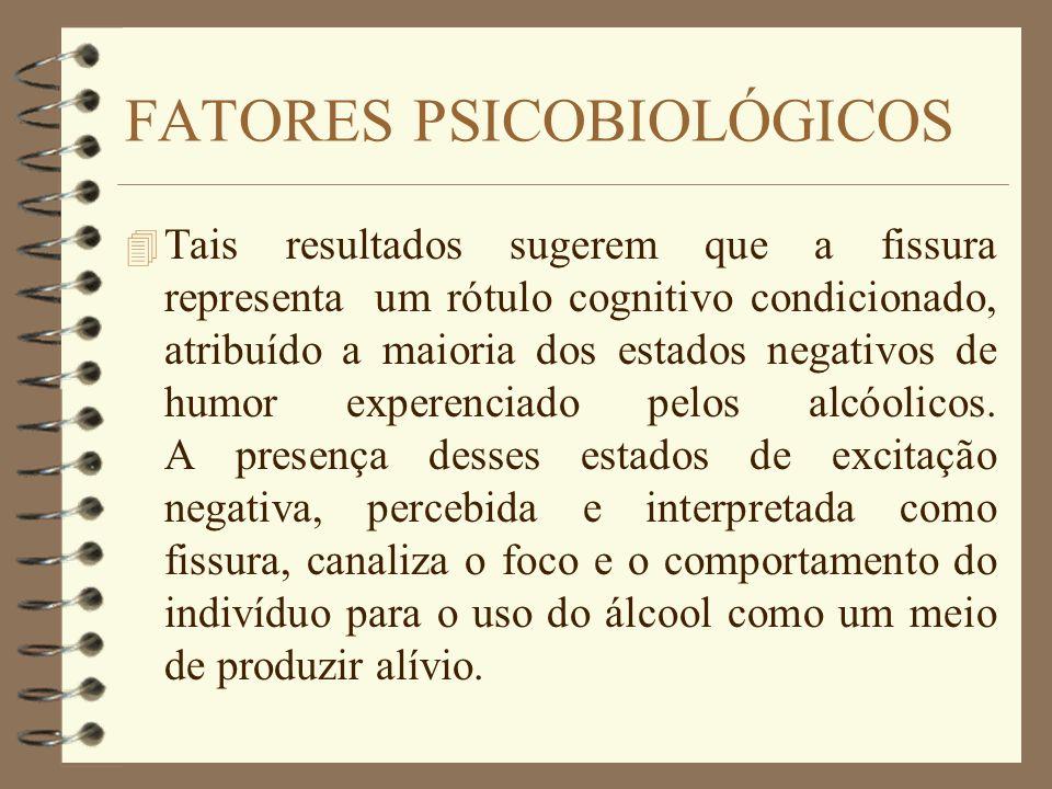 FATORES PSICOBIOLÓGICOS 4 Tais resultados sugerem que a fissura representa um rótulo cognitivo condicionado, atribuído a maioria dos estados negativos
