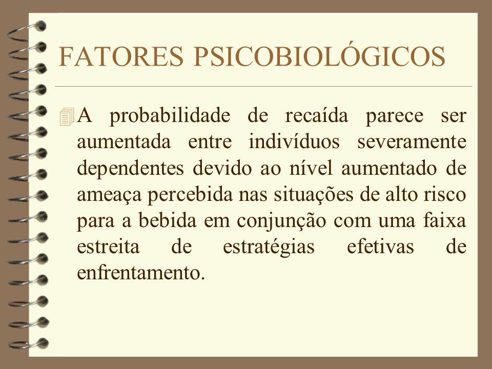 FATORES PSICOBIOLÓGICOS 4 A probabilidade de recaída parece ser aumentada entre indivíduos severamente dependentes devido ao nível aumentado de ameaça
