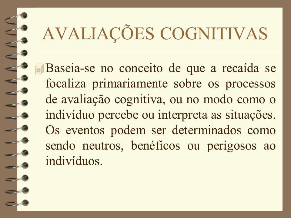 AVALIAÇÕES COGNITIVAS 4 Baseia-se no conceito de que a recaída se focaliza primariamente sobre os processos de avaliação cognitiva, ou no modo como o