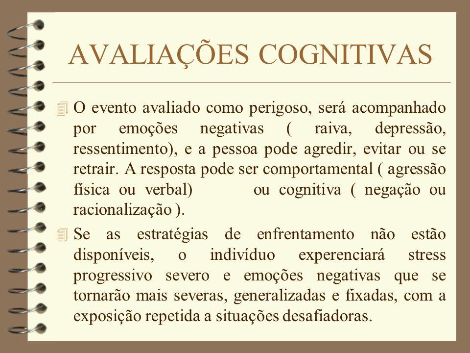 AVALIAÇÕES COGNITIVAS 4 O evento avaliado como perigoso, será acompanhado por emoções negativas ( raiva, depressão, ressentimento), e a pessoa pode ag