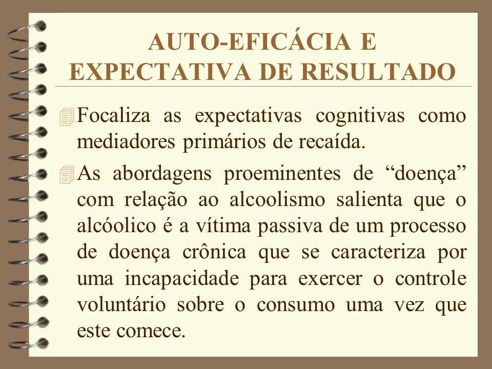 AUTO-EFICÁCIA E EXPECTATIVA DE RESULTADO 4 Focaliza as expectativas cognitivas como mediadores primários de recaída. 4 As abordagens proeminentes de d