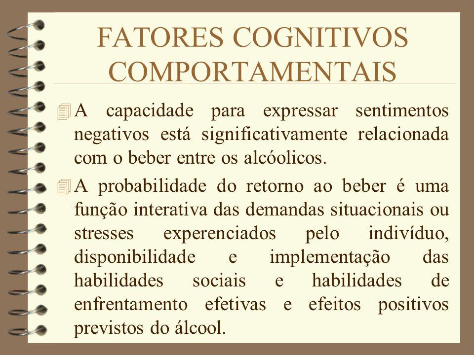 FATORES COGNITIVOS COMPORTAMENTAIS 4 A capacidade para expressar sentimentos negativos está significativamente relacionada com o beber entre os alcóol