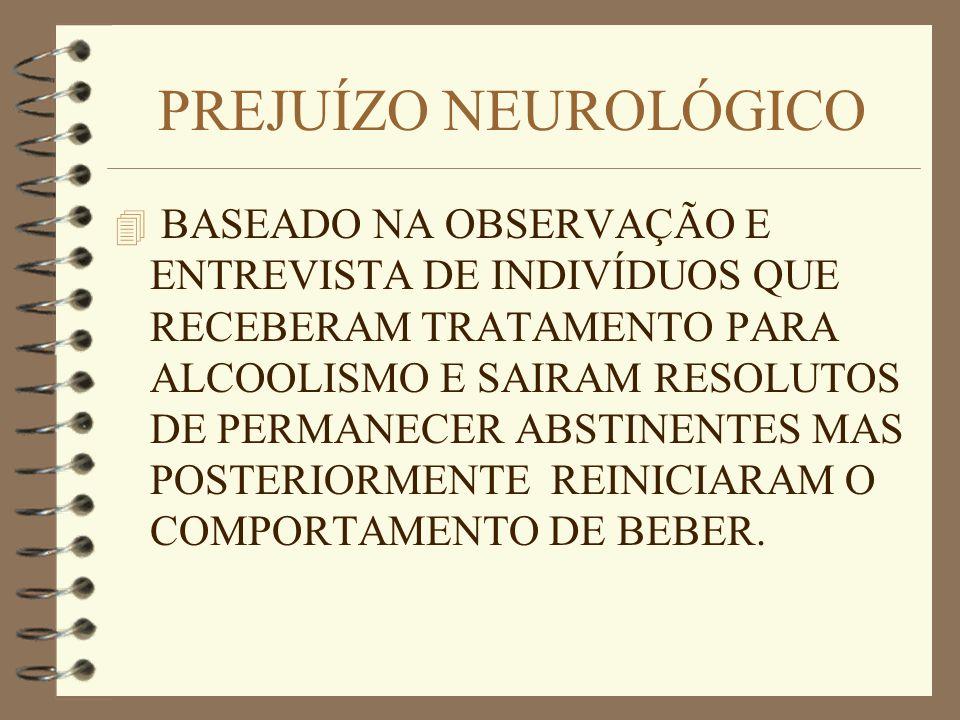 PREJUÍZO NEUROLÓGICO 4 BASEADO NA OBSERVAÇÃO E ENTREVISTA DE INDIVÍDUOS QUE RECEBERAM TRATAMENTO PARA ALCOOLISMO E SAIRAM RESOLUTOS DE PERMANECER ABST