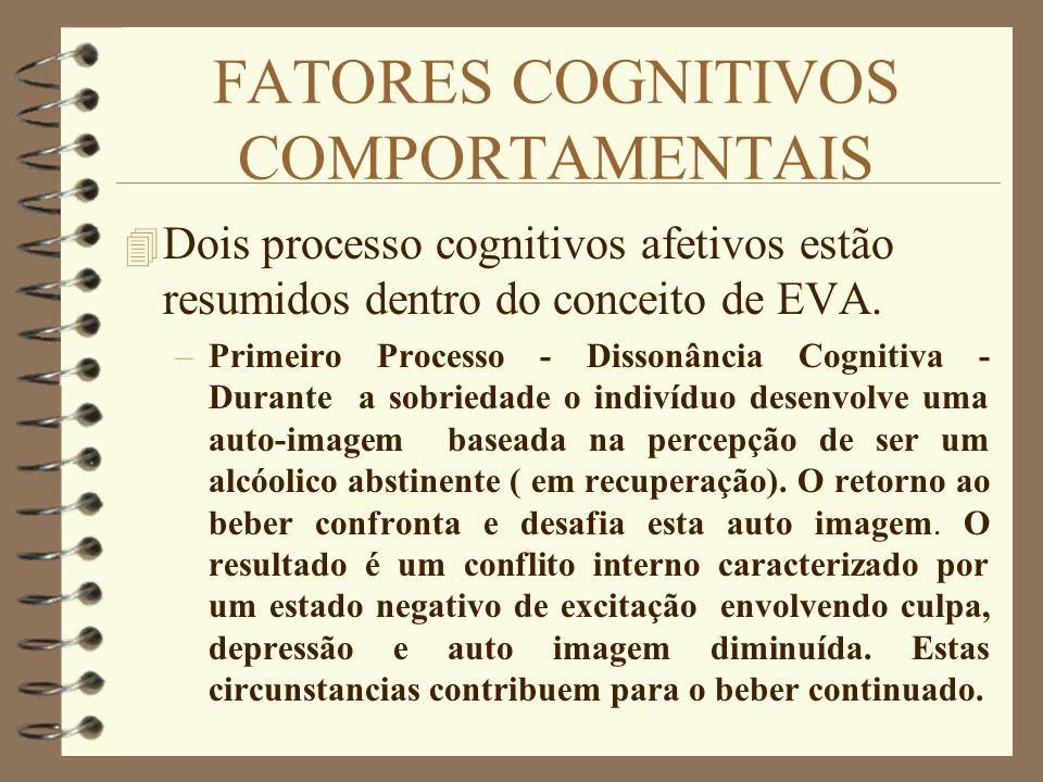 FATORES COGNITIVOS COMPORTAMENTAIS 4 Dois processo cognitivos afetivos estão resumidos dentro do conceito de EVA. –Primeiro Processo - Dissonância Cog
