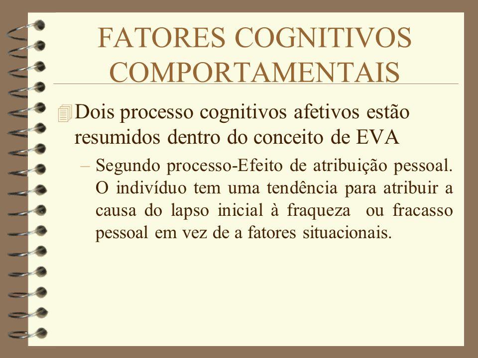FATORES COGNITIVOS COMPORTAMENTAIS 4 Dois processo cognitivos afetivos estão resumidos dentro do conceito de EVA –Segundo processo-Efeito de atribuiçã