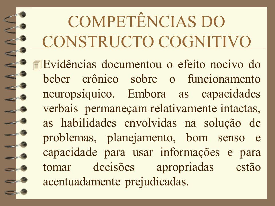 COMPETÊNCIAS DO CONSTRUCTO COGNITIVO 4 Evidências documentou o efeito nocivo do beber crônico sobre o funcionamento neuropsíquico. Embora as capacidad
