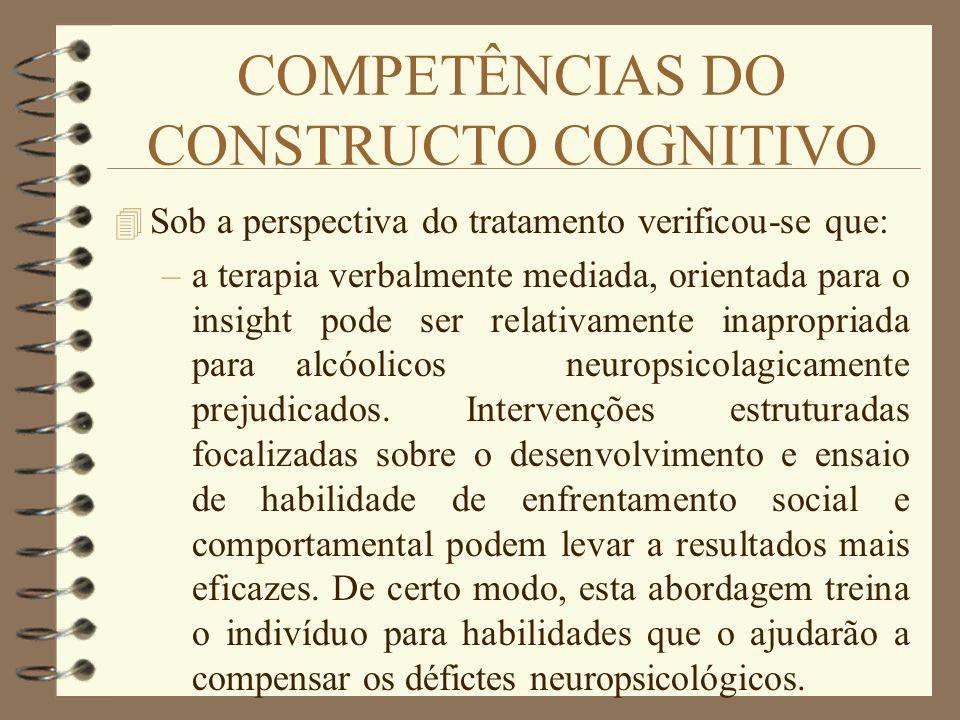COMPETÊNCIAS DO CONSTRUCTO COGNITIVO 4 Sob a perspectiva do tratamento verificou-se que: –a terapia verbalmente mediada, orientada para o insight pode