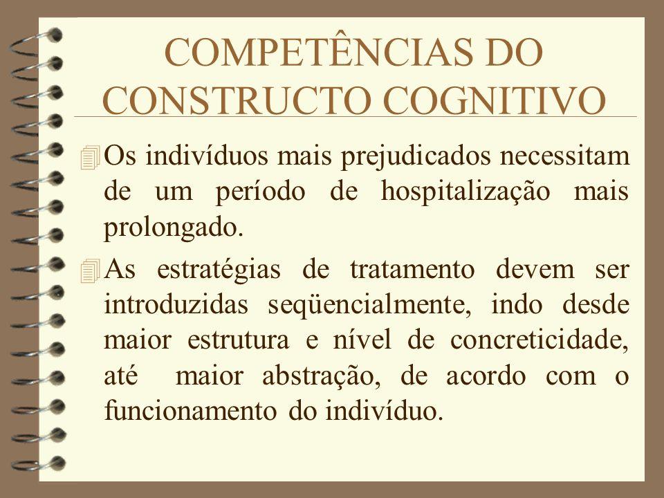 COMPETÊNCIAS DO CONSTRUCTO COGNITIVO 4 Os indivíduos mais prejudicados necessitam de um período de hospitalização mais prolongado. 4 As estratégias de
