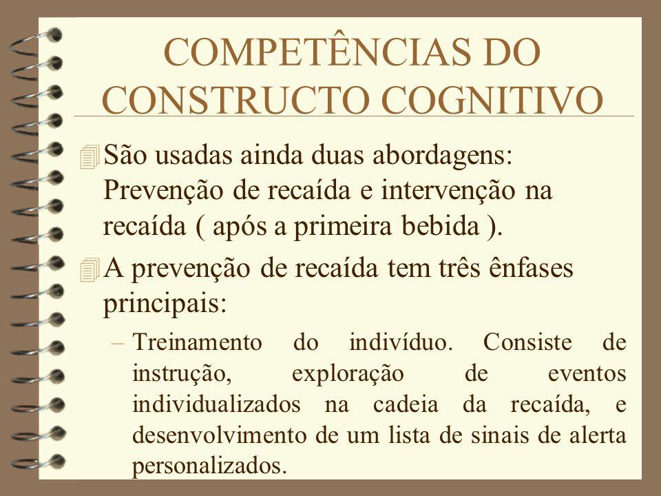 COMPETÊNCIAS DO CONSTRUCTO COGNITIVO 4 São usadas ainda duas abordagens: Prevenção de recaída e intervenção na recaída ( após a primeira bebida ). 4 A