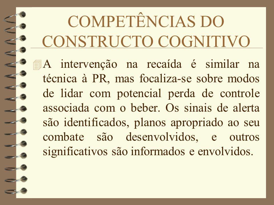 COMPETÊNCIAS DO CONSTRUCTO COGNITIVO 4 A intervenção na recaída é similar na técnica à PR, mas focaliza-se sobre modos de lidar com potencial perda de