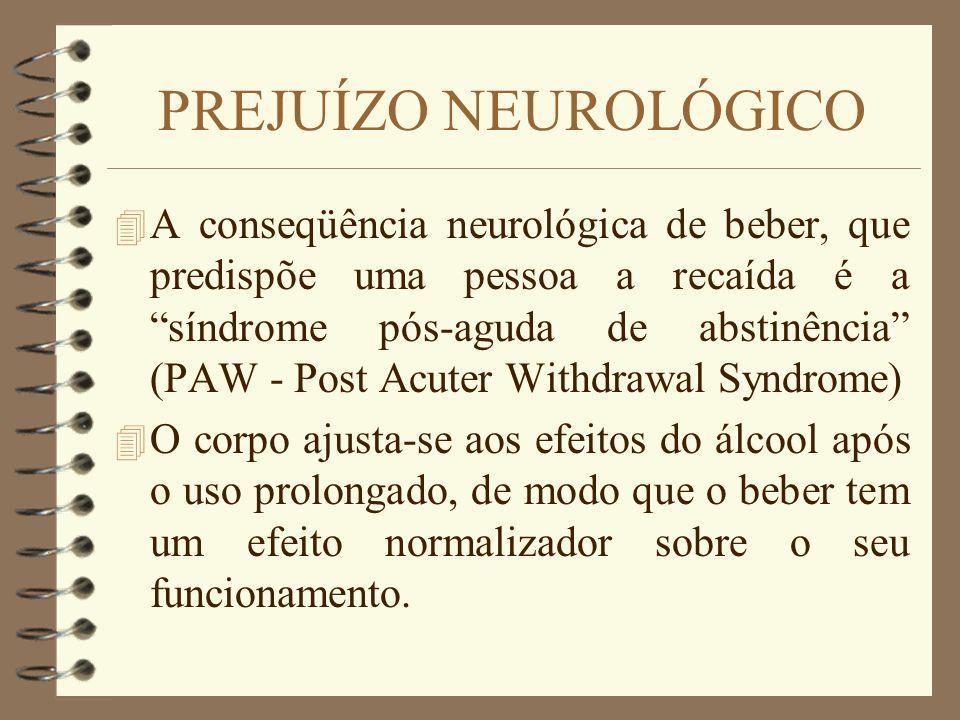 PREJUÍZO NEUROLÓGICO 4 A conseqüência neurológica de beber, que predispõe uma pessoa a recaída é a síndrome pós-aguda de abstinência (PAW - Post Acute