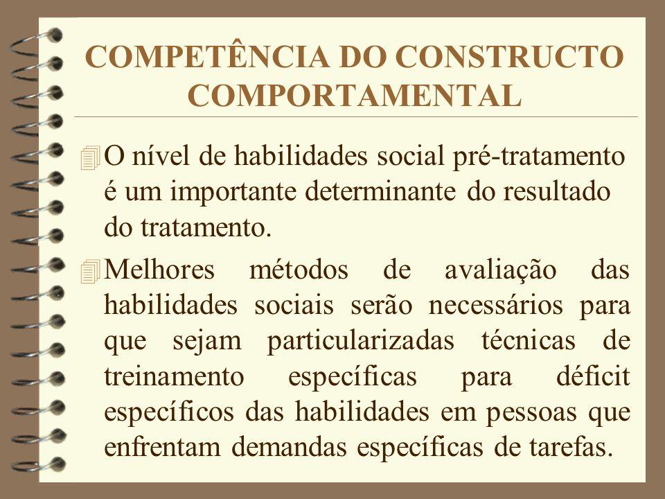 COMPETÊNCIA DO CONSTRUCTO COMPORTAMENTAL 4 O nível de habilidades social pré-tratamento é um importante determinante do resultado do tratamento. 4 Mel