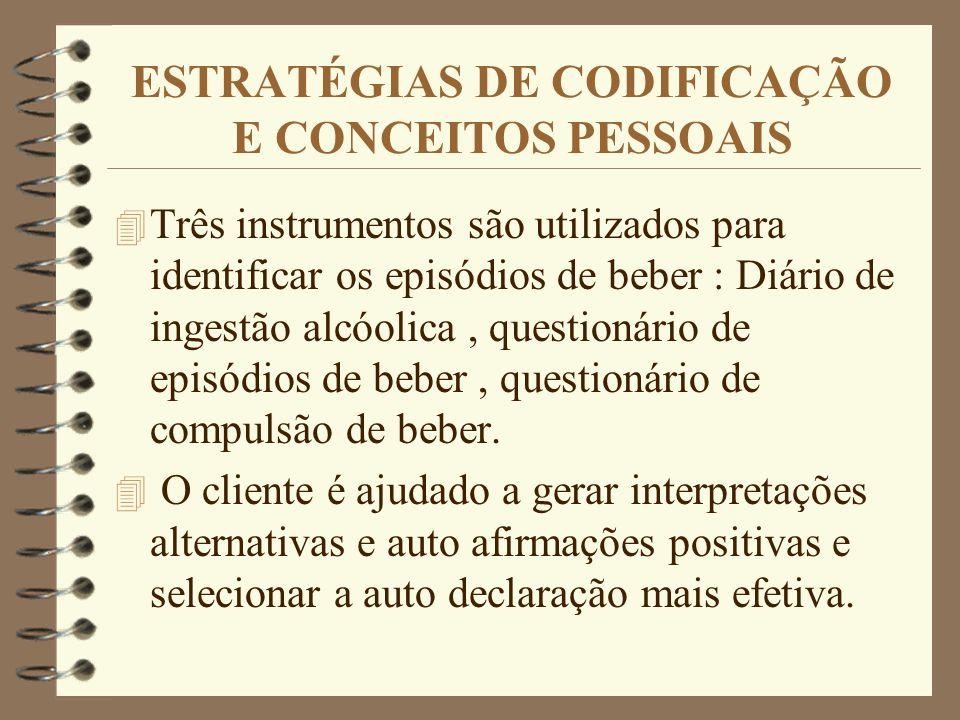 ESTRATÉGIAS DE CODIFICAÇÃO E CONCEITOS PESSOAIS 4 Três instrumentos são utilizados para identificar os episódios de beber : Diário de ingestão alcóoli