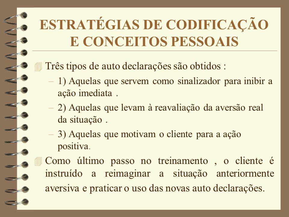 ESTRATÉGIAS DE CODIFICAÇÃO E CONCEITOS PESSOAIS 4 Três tipos de auto declarações são obtidos : –1) Aquelas que servem como sinalizador para inibir a a