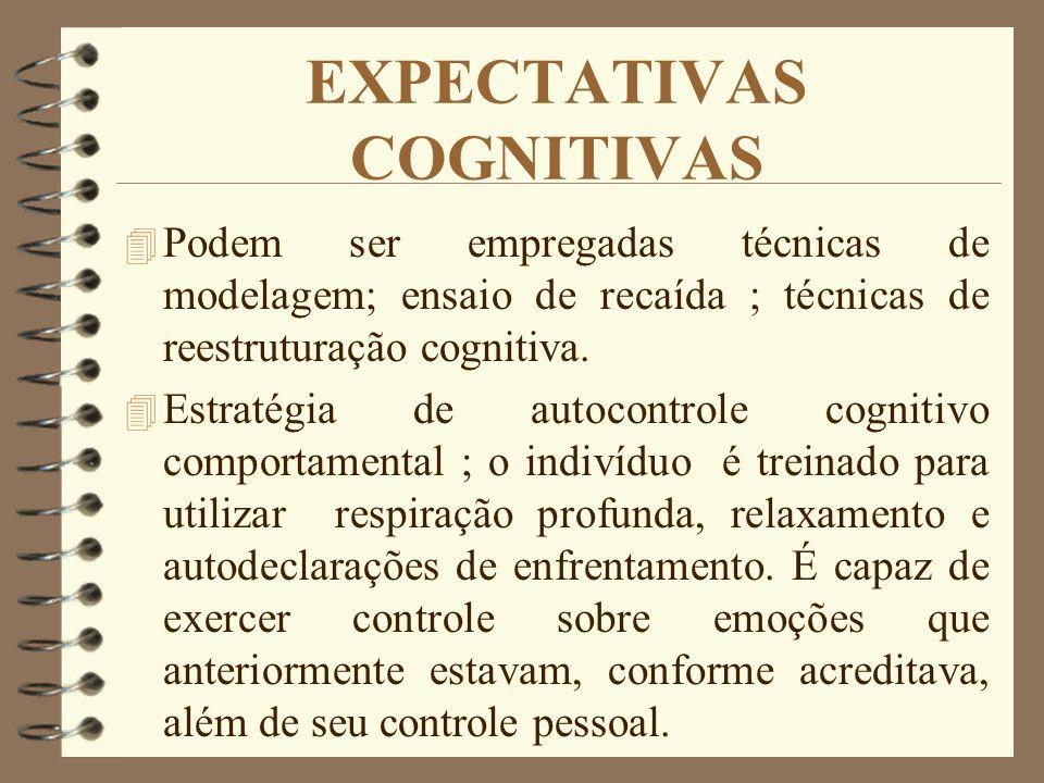 EXPECTATIVAS COGNITIVAS 4 Podem ser empregadas técnicas de modelagem; ensaio de recaída ; técnicas de reestruturação cognitiva. 4 Estratégia de autoco