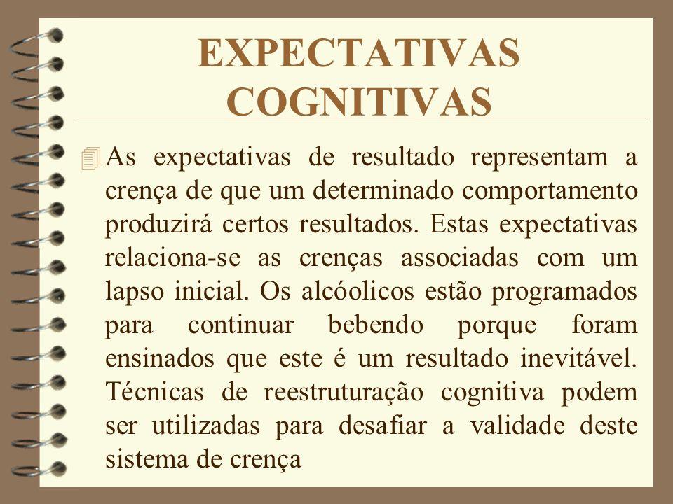 EXPECTATIVAS COGNITIVAS 4 As expectativas de resultado representam a crença de que um determinado comportamento produzirá certos resultados. Estas exp