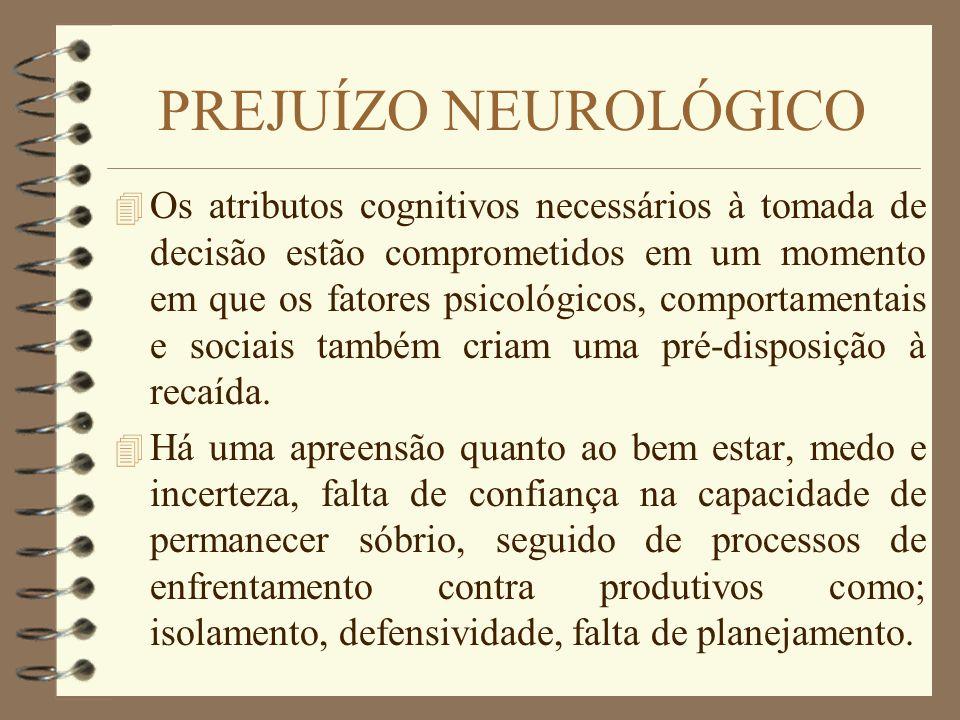 PREJUÍZO NEUROLÓGICO 4 Os atributos cognitivos necessários à tomada de decisão estão comprometidos em um momento em que os fatores psicológicos, compo