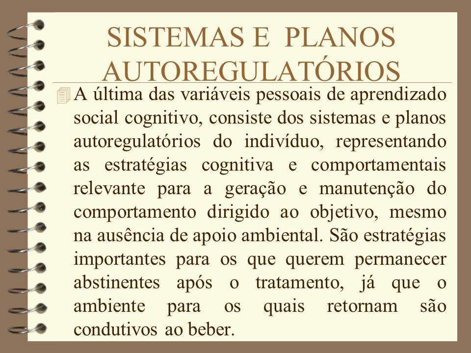 SISTEMAS E PLANOS AUTOREGULATÓRIOS 4 A última das variáveis pessoais de aprendizado social cognitivo, consiste dos sistemas e planos autoregulatórios