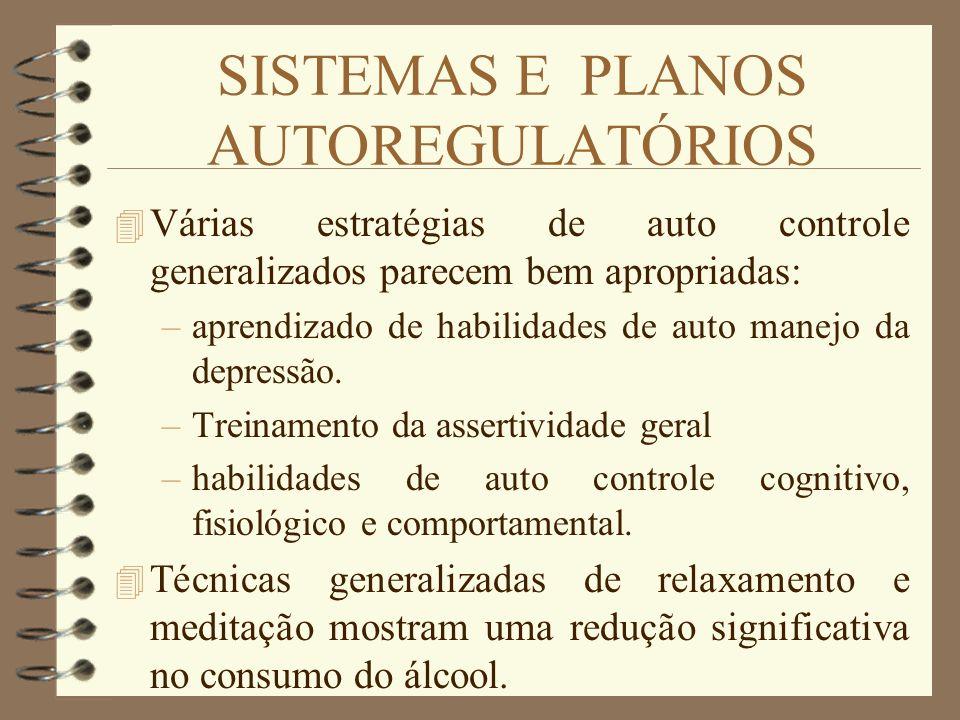 SISTEMAS E PLANOS AUTOREGULATÓRIOS 4 Várias estratégias de auto controle generalizados parecem bem apropriadas: –aprendizado de habilidades de auto ma