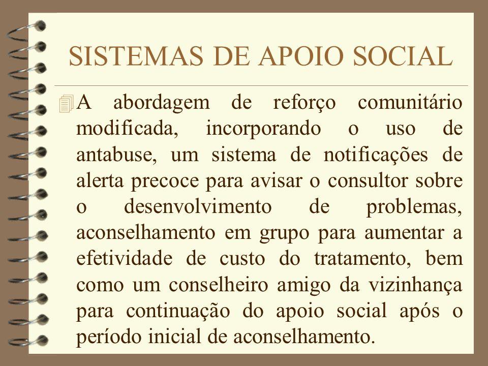 SISTEMAS DE APOIO SOCIAL 4 A abordagem de reforço comunitário modificada, incorporando o uso de antabuse, um sistema de notificações de alerta precoce